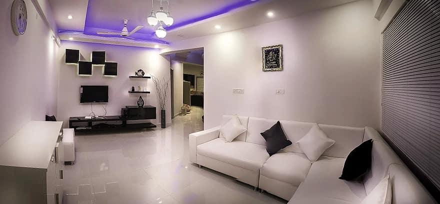 éclairage créatif pour un salon d'appartement