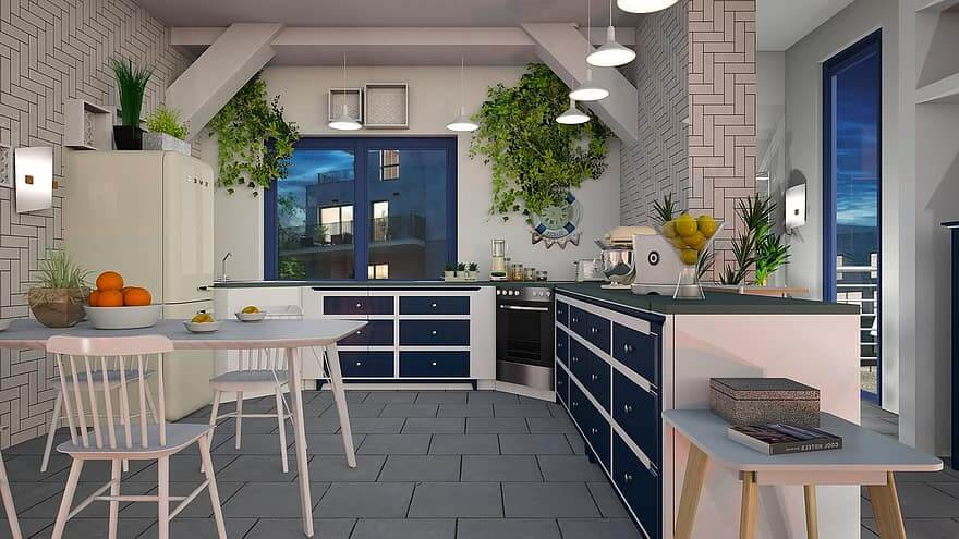 une belle cuisine avec plusieurs couleurs