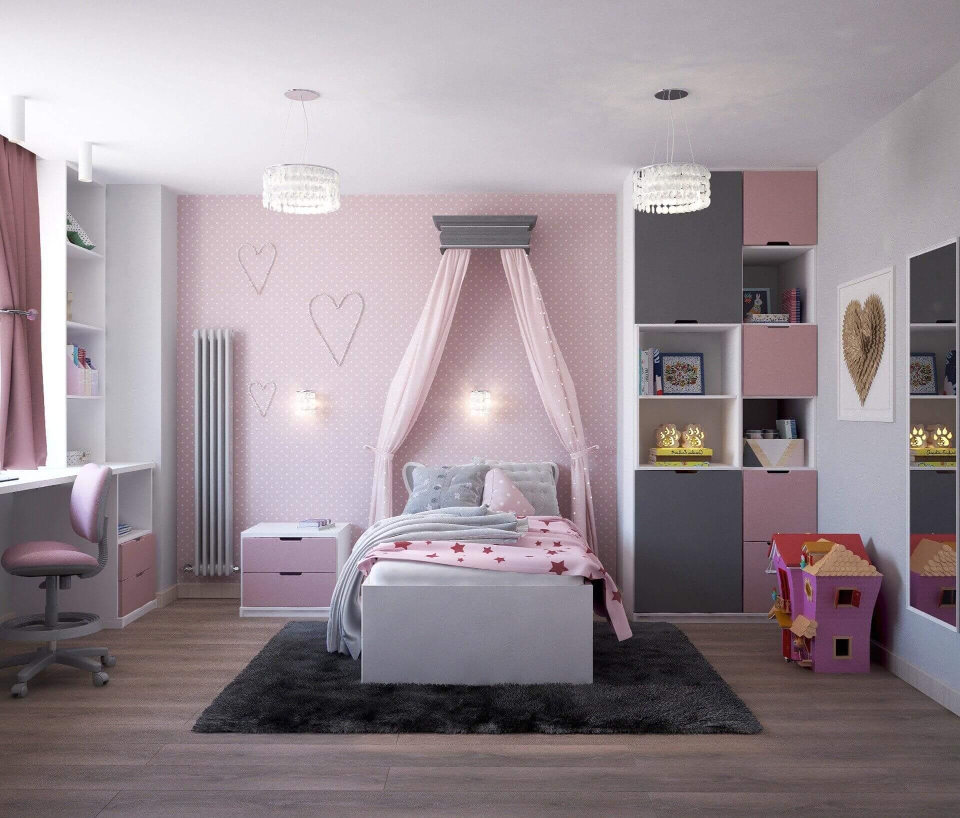 belles couleurs et motifs dans la chambre d'une ado