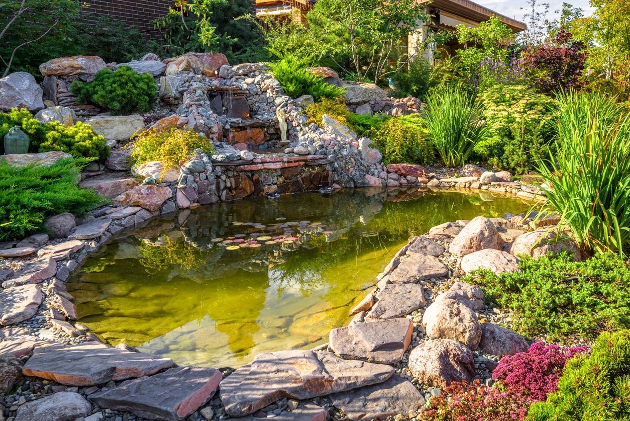 bassin et fontaine dans un jardin bucolique