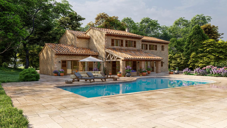 belle piscine dans une villa méditerranéen