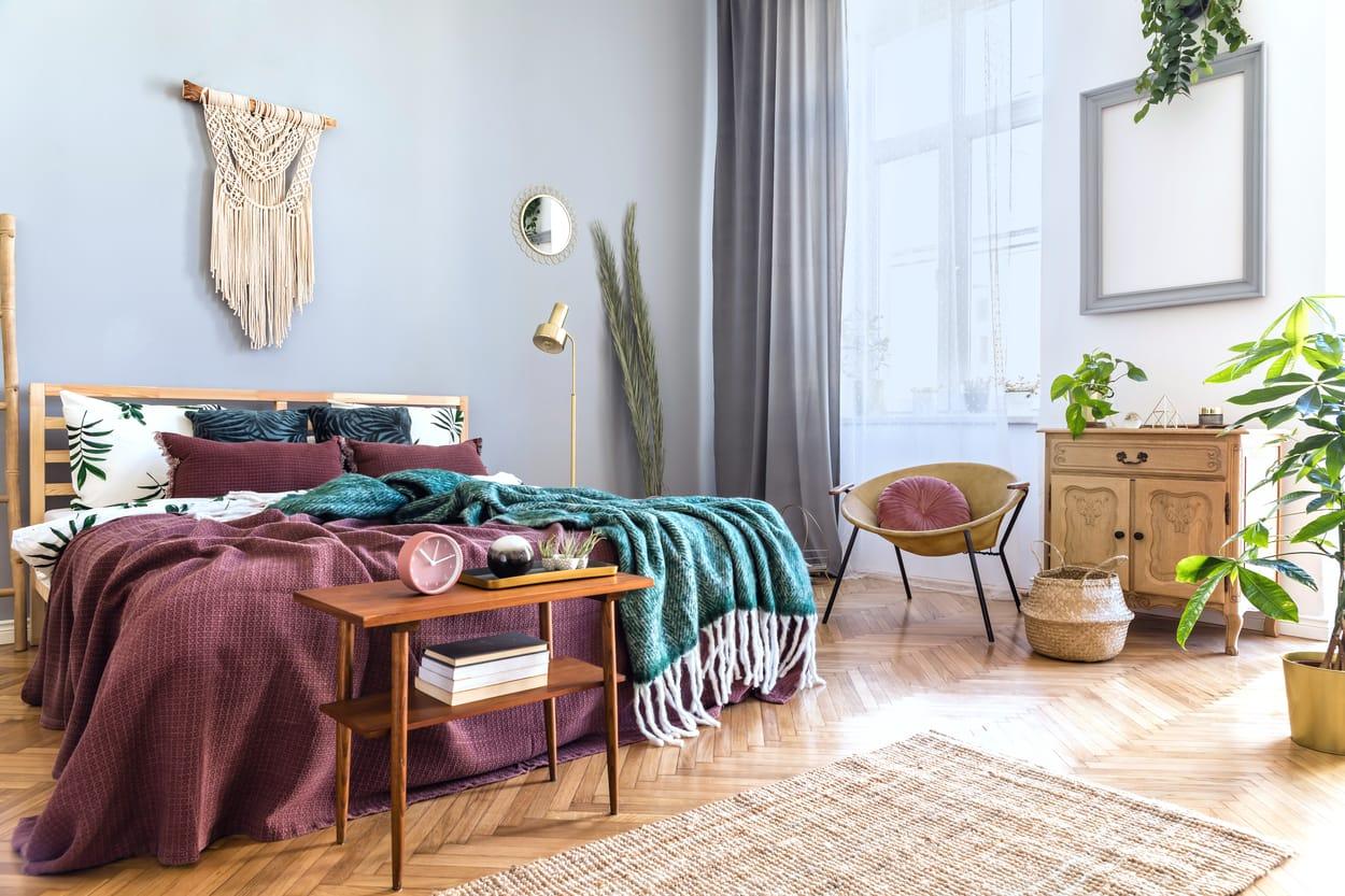 Meuble design dans une chambre au style Japandi