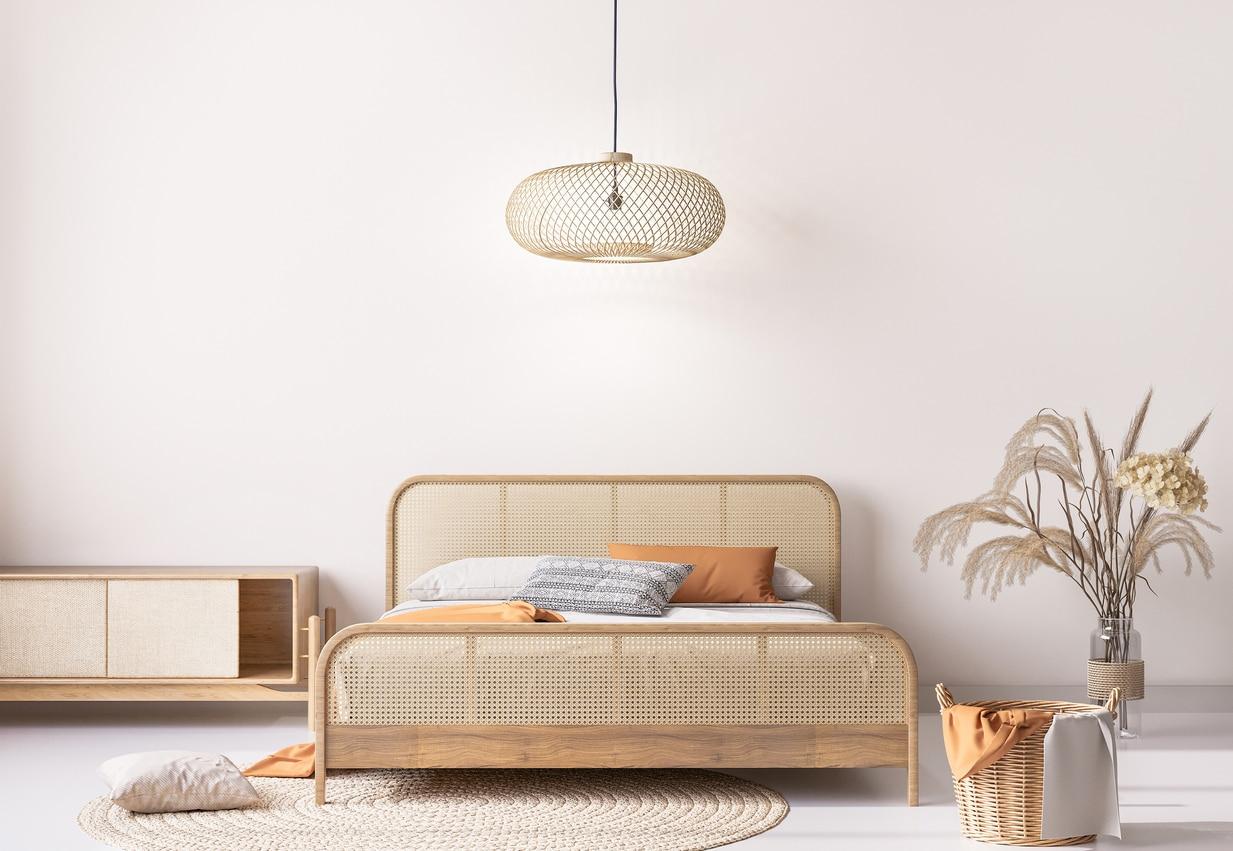 chambre scandinave - lit en bois