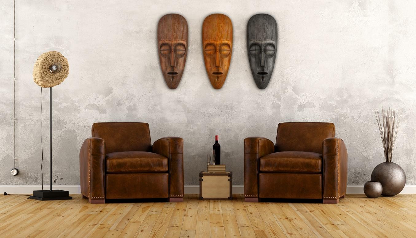 Salon africain avec décoration vintage