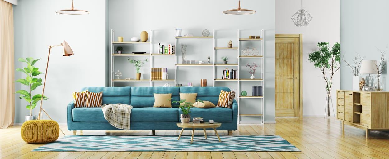 salon scandinave moderne avec du bleu
